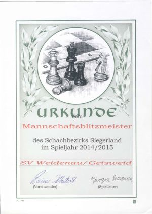 Sieger Schachbezirk Siegerland Mannschaftsblitzmeisterschaft 2014/2015