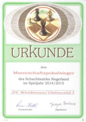 Sieger Schachbezirk Siegerland Mannschaftspokal 2014/2015